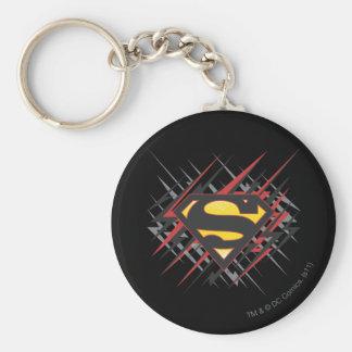 Superman Stylized | Black and Red Strikes Logo Basic Round Button Keychain