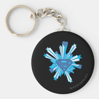 Superman Stylized | Blue Shield Hearts Logo Keychain