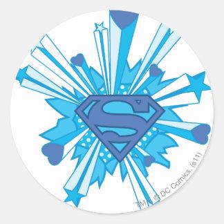 Superman Stylized | Blue Shield Hearts Logo Round Sticker