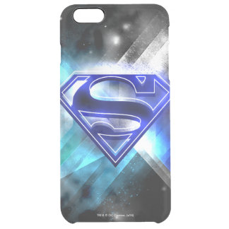 Superman Stylized   Blue White Crystal Logo Clear iPhone 6 Plus Case