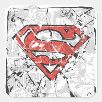 Superman Stylized | Crumpled Comic Logo Square Sticker