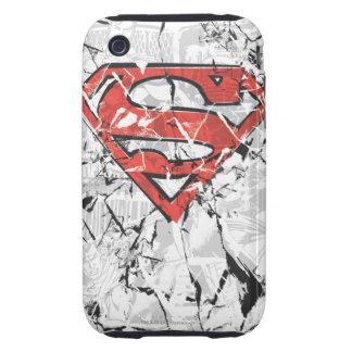 Superman Stylized   Crumpled Comic Logo Tough iPhone 3 Case