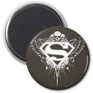 Superman Stylized | Dark Brown Background Logo 2 Inch Round Magnet