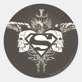 Superman Stylized | Dark Skulls Logo Round Sticker