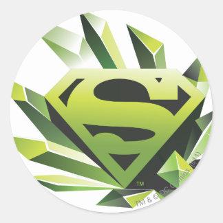 Superman Stylized   Green Shield Logo Classic Round Sticker
