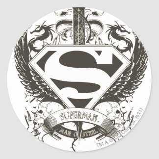 Superman Stylized | Honor, Truth on White Logo Round Sticker