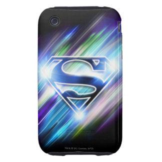 Superman Stylized | Shiny Blue Burst Logo iPhone 3 Tough Cases