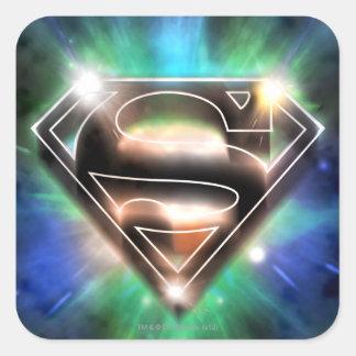 Superman Stylized | Shiny Burst Logo Square Sticker
