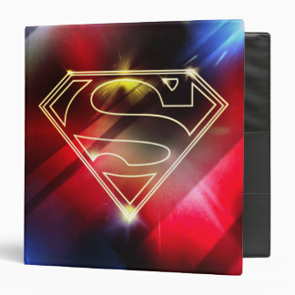Superman Stylized | Shiny Yellow Outline Logo 3 Ring Binder