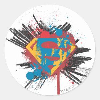 Superman Stylized   Splatter Logo Round Sticker
