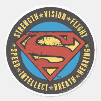 Superman Stylized | Strength Vision Flight Logo Round Sticker