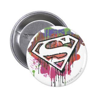 Superman Stylized   Twisted Innocence Logo 2 Inch Round Button