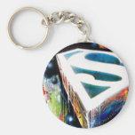 Superman Stylized | Urban Graffiti Logo Basic Round Button Keychain
