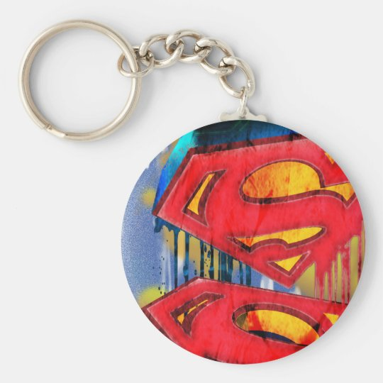 Superman Stylized | Urban Spraypaint Logo Basic Round Button Keychain