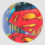 Superman Stylized | Urban Spraypaint Logo Round Sticker