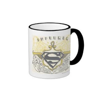 Superman Stylized | Yellow Drawn Trains Logo Ringer Coffee Mug