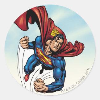 Superman swift through the air round sticker