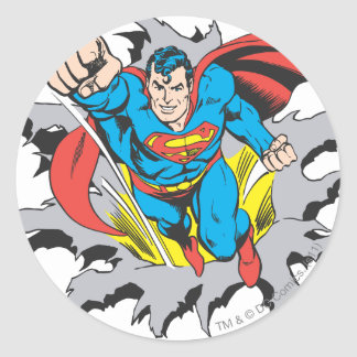 Superman Tears Thru Round Sticker