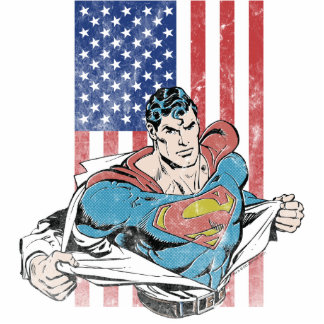 Superman & US Flag Standing Photo Sculpture