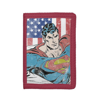 Superman & US Flag Tri-fold Wallets