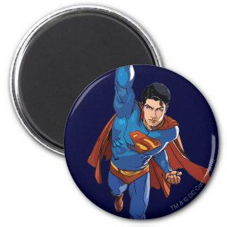Superman volant en avant magnet rond 8 cm