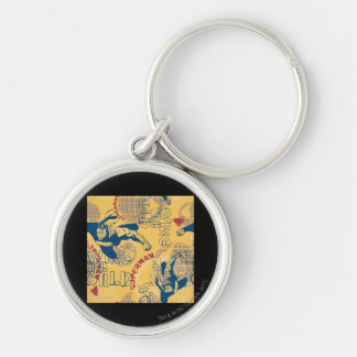 Superman with globes Silver-Colored round keychain