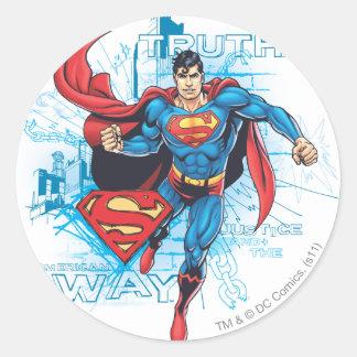 Superman with Logo Round Sticker