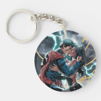 Superman/Wonder Woman Comic Promotional Art Double-Sided Round Acrylic Keychain