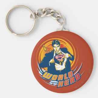 Superman World Hero Basic Round Button Keychain