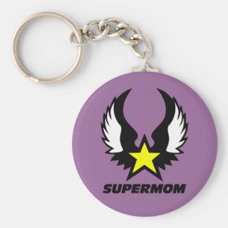 SuperMom: My mother is my super hero Basic Round Button Keychain