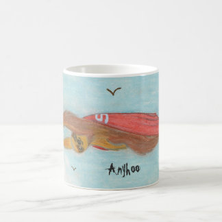 Supersloth flying with caption 'Anyhoo' Coffee Mug
