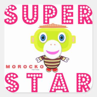 SuperStar 2-Cute Monkey-Morocko Square Sticker
