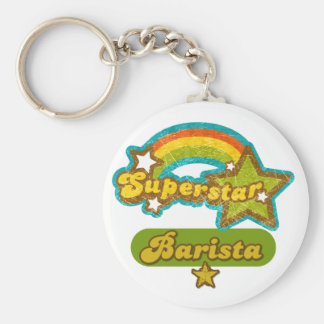 Superstar Barista Basic Round Button Keychain