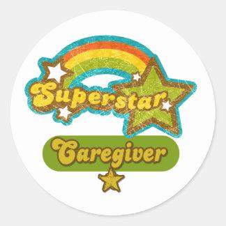 Superstar Caregiver Round Sticker