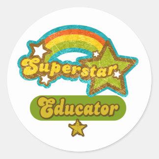Superstar Educator Round Sticker