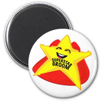 superstar groom funny magnet! 2 inch round magnet