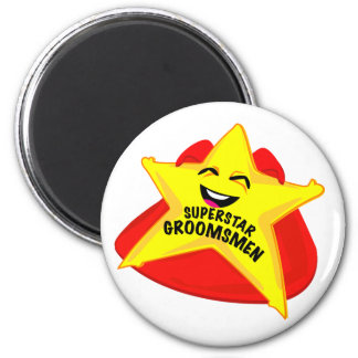 superstar groomsmen funny magnet! 2 inch round magnet