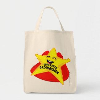 superstar groomsmen humorous  bag! grocery tote bag