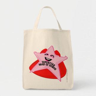 superstar maid of honor humorous  bag! grocery tote bag