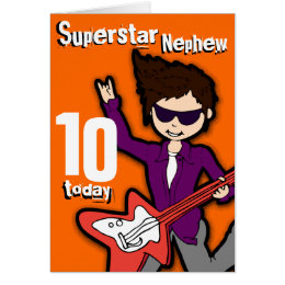 Happy birthday for musicians cards photocards invitations more superstar nephew 10th birthday orange red boy card bookmarktalkfo Image collections