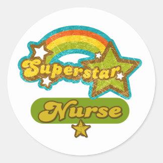 Superstar Nurse Classic Round Sticker