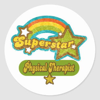 Superstar Physical Therapist Round Sticker