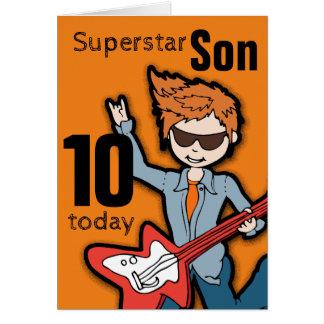 Superstar Son 10th birthday orange boy card