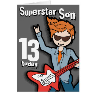 Superstar Son 11th birthday grey boy card