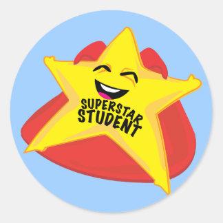 superstar student funny sticker! classic round sticker