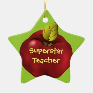 Superstar Teacher Red Apple Christmas Ceramic Ornament