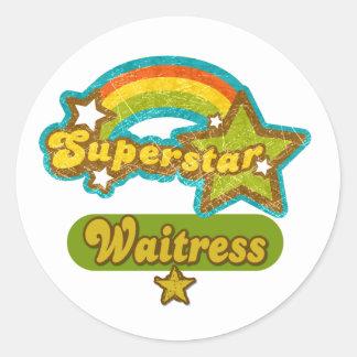 Superstar Waitress Classic Round Sticker