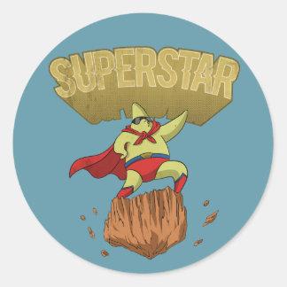Superstar Yellow Star Superhero on a Rock Classic Round Sticker