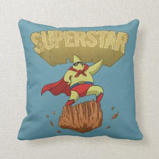 Superstar Yellow Star Superhero on a Rock Throw Pillow