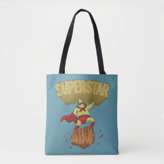 Superstar Yellow Star Superhero on a Rock Tote Bag